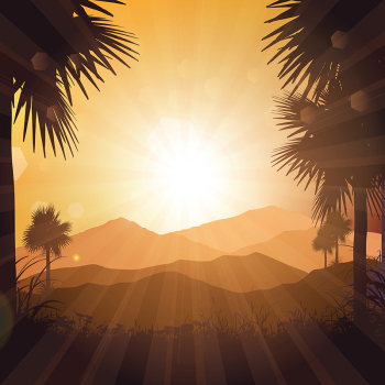 Tropical Landscape At Sunset 2604, Summer, Background, Summer ... png image transparent background