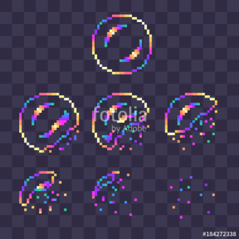 "Pixel art rainbow soap bubble burst sprites for animation."" Stock ... png image transparent background"