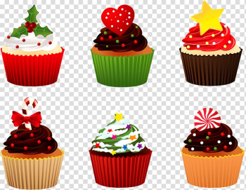 Christmas Cupcakes Christmas cake Candy cane Birthday cake, cupcake transparent background PNG clipart png image transparent background