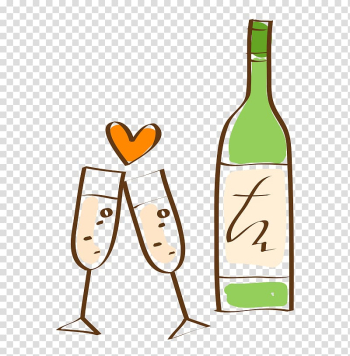 Champagne Wine, Hand-painted wine coloring transparent background PNG clipart png image transparent background