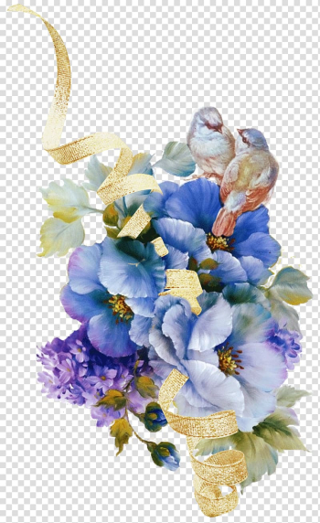 Two brown birds perching on blue and white petaled flowers, Watercolour Flowers Floral design Vintage clothing , flower transparent background PNG clipart png image transparent background