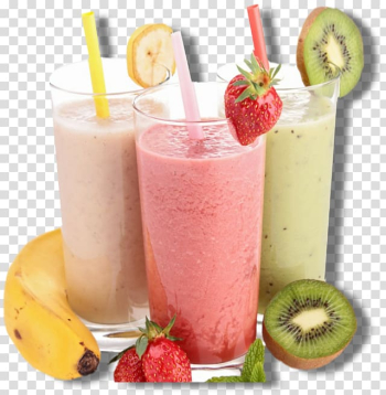 Three glasses of fruit shakes, Smoothie Milkshake Fizzy Drinks Juice Tea, smoothies transparent background PNG clipart png image transparent background
