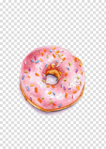 Round doughnut with pink frosting and sprinkles illustration, Doughnut Watercolor painting Illustration, Pink Donut transparent background PNG clipart png image transparent background