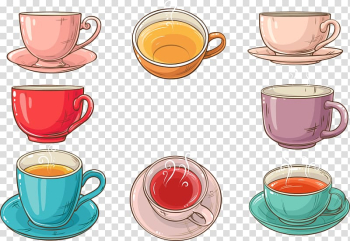 Teacup Coffee Saucer, colored cup of black tea transparent background PNG clipart png image transparent background
