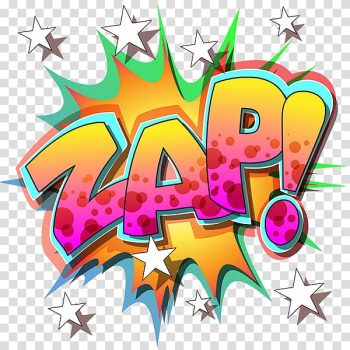 Zap! banner illustration, Pop art Comics Comic book , Yellow change, English stars, explosive stickers transparent background PNG clipart png image transparent background