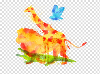 Giraffe Lion Watercolor painting Drawing, Drawing lion transparent background PNG clipart png image transparent background