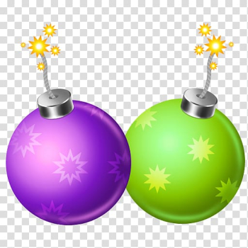 Two baubles, sphere christmas ornament christmas decoration, Firecracker 2 transparent background PNG clipart png image transparent background