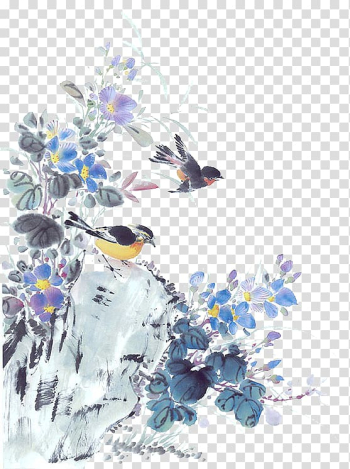 China Chinese painting Laptop, Birds transparent background PNG clipart png image transparent background