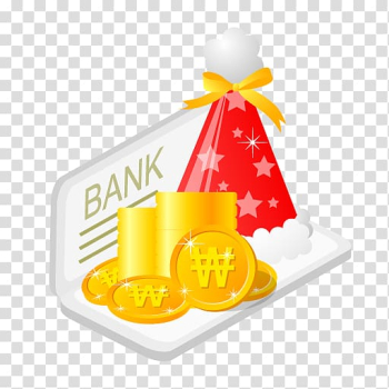 Bank signage with Christmas hat, food fruit yellow, Christmas bank money transparent background PNG clipart png image transparent background