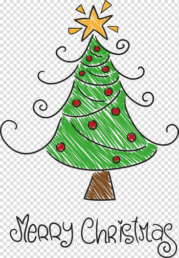 Santa Claus Drawing Christmas tree, Hand-painted Christmas tree transparent background PNG clipart png image transparent background