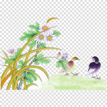 U56fdu753bu5c71u6c34 u82b1u9ce5u756bu6280u6cd5 Bird-and-flower painting Gongbi Chinese painting, FIG green leaves white transparent background PNG clipart png image transparent background