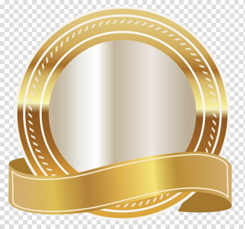 Round gold and white , Gold Ribbon , Gold Seal transparent background PNG clipart png image transparent background