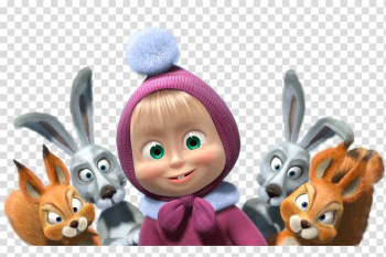 3D animated character with rabbits illustration, Masha and the Bear Animation, masha transparent background PNG clipart png image transparent background