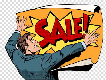 Person holding sale poster , Pop art Drawing, Man and paper transparent background PNG clipart png image transparent background
