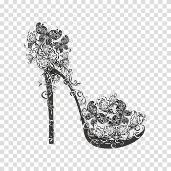 High-heeled footwear Shoe Flower Illustration, Personality pattern black and white high heels transparent background PNG clipart png image transparent background