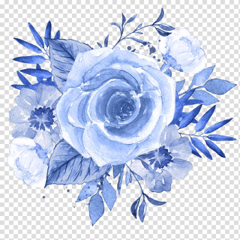 Blue rose illustration, Blue Flower Watercolor painting , blue floral transparent background PNG clipart png image transparent background