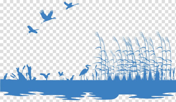 Wetland Silhouette Illustration, Wetland lake grass painted silhouettes of animals transparent background PNG clipart png image transparent background