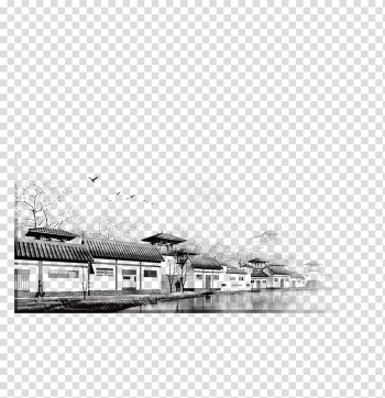 Maotai Black and white Ink wash painting, Black and white ink town FIG. transparent background PNG clipart png image transparent background