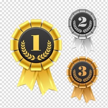 Gold, silver, and bronze medals, Ribbon Award Rosette , Gold and silver bronze design transparent background PNG clipart