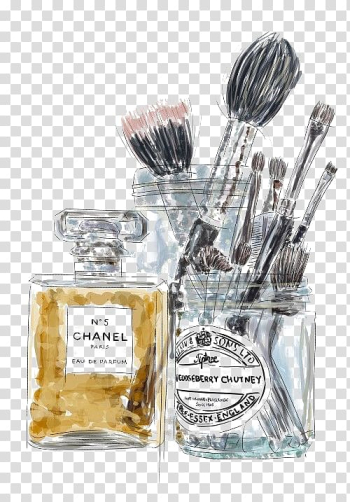 Illustration of Chanel perfume bottle and makeup brushes, Chanel No. 5 Perfume Cosmetics Coco, Perfume and make-up brushes transparent background PNG clipart png image transparent background