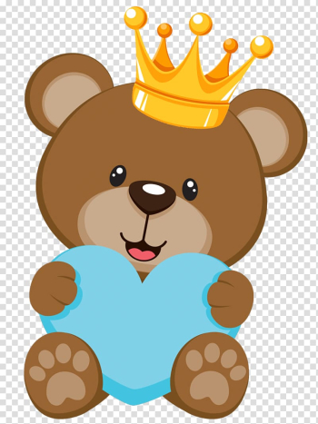 Brown bear with yellow crown holding blue heart illustration, Teddy bear Baby shower Infant , SALVAJE transparent background PNG clipart png image transparent background