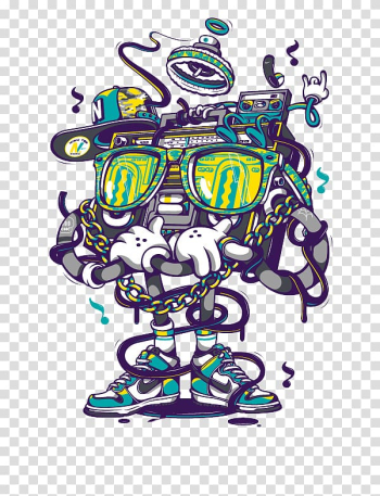 Animated boombox wearing sunglasses illustration, Nike Air Max Hip hop Graffiti Shoe, Cartoon robot transparent background PNG clipart png image transparent background