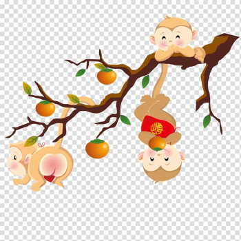 Mid-Autumn Festival Full moon Circle , A monkey lying on a branch transparent background PNG clipart png image transparent background