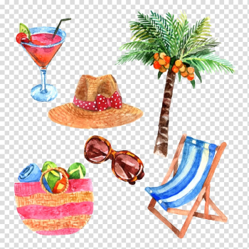 Brown straw hat and palm tree illustration, Watercolor painting Travel illustration, Summer travel theme transparent background PNG clipart png image transparent background