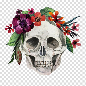Calavera Skull Flower Painting Euclidean , Skull with a wreath transparent background PNG clipart png image transparent background