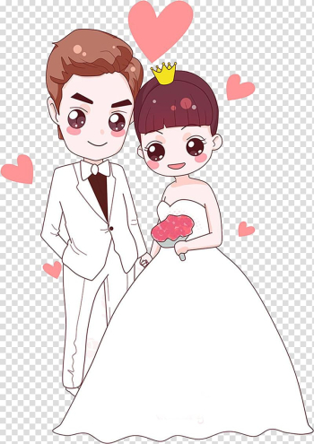 Marriage Cartoon Wedding Painting, White dress wedding bride transparent background PNG clipart png image transparent background