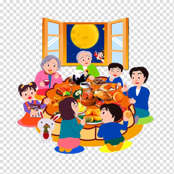 Family of seven eating on table, Mooncake Mid-Autumn Festival Reunion dinner Poster, Mid Autumn Festival reunion transparent background PNG clipart png image transparent background