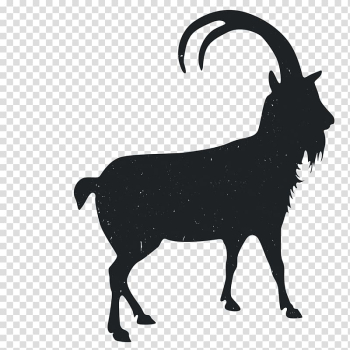 Goat Silhouette Black and white, Animal Silhouettes transparent background PNG clipart png image transparent background