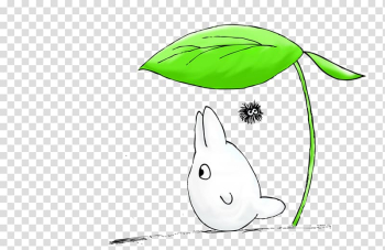 White animal under green leaf illustration, T-shirt Catbus Studio Ghibli Totoro Drawing, totoro transparent background PNG clipart png image transparent background