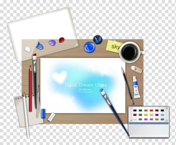 Watercolor painting Drawing, Drawing tools on the desk transparent background PNG clipart png image transparent background