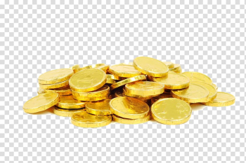 Gold-colored coins, Chocolate coin Gold coin Christmas, Pile of gold coins transparent background PNG clipart png image transparent background