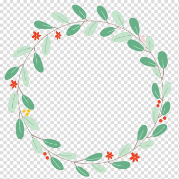 Round green and red leaves border, Euclidean Circle Illustration, Originality fresh, green leaves surround lace transparent background PNG clipart png image transparent background