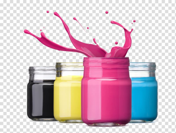 Splashing pink liquid in jar near three assorted-color jars, Ink cartridge Dye-sublimation printer Printing, Decorative Paint Bucket transparent background PNG clipart png image transparent background