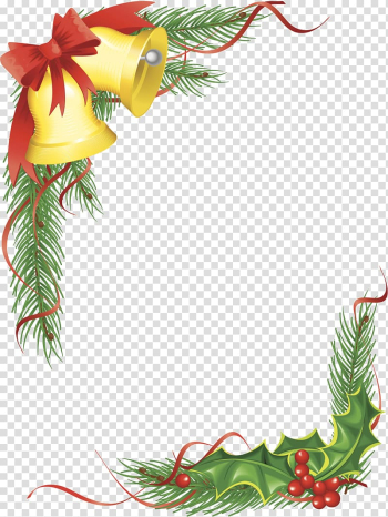 Christmas ornament Santa Claus Bell Christmas tree, Christmas bells border texture transparent background PNG clipart png image transparent background
