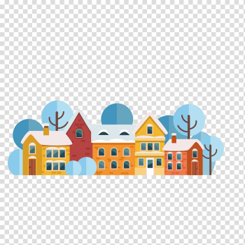 Santa Claus Christmas card Flat design, snow and houses transparent background PNG clipart png image transparent background