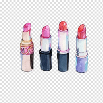 Four assorted-color lipsticks illustration, Chanel Lipstick Cosmetics Watercolor painting Drawing, Hand drawn cosmetics,Lipstick transparent background PNG clipart png image transparent background