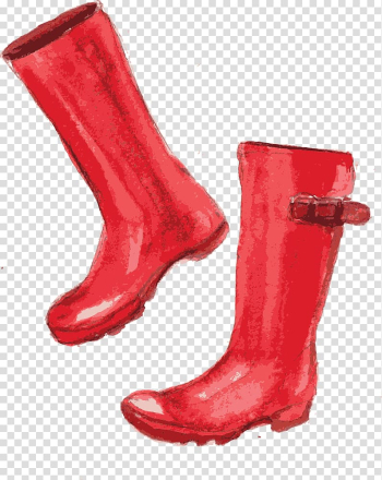 Wellington boot Watercolor painting Shoe, Hand-painted watercolor red boots transparent background PNG clipart png image transparent background