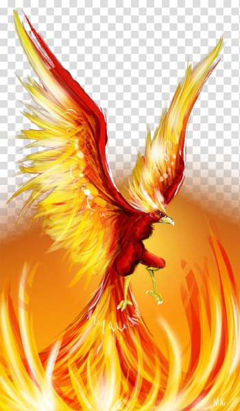 Animated red and yellow bird , Phoenix Firebird Cute Birds , Eagle wings fire lines effect transparent background PNG clipart png image transparent background