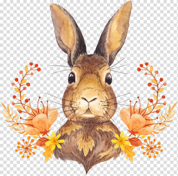 Autumn leaf color Watercolor painting Illustration, Cute little bunny in the flowers transparent background PNG clipart png image transparent background