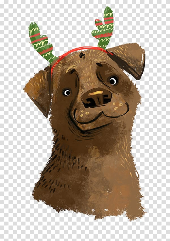 Dog Chien Pourri Drawing Christmas Illustration, Hand-painted Christmas antlers puppy transparent background PNG clipart png image transparent background