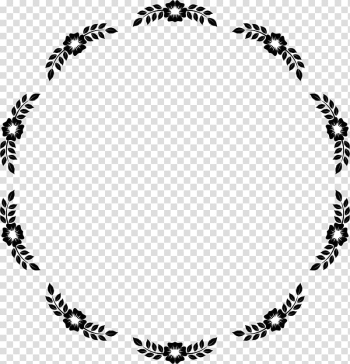 Round black and white floral border, Flower Borders and Frames Frames , circle frame transparent background PNG clipart png image transparent background