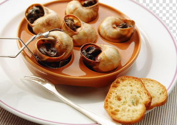 French cuisine Seafood Escargot Cooking, Steamed snail and fork transparent background PNG clipart png image transparent background