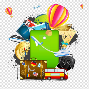 Bus and hot air balloon , Air travel Illustration, Travel with suitcase transparent background PNG clipart png image transparent background