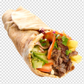 Wrapped food with tomatoes, cucumber, meat, and vegetables, Doner kebab Wrap Turkish cuisine Deniz Kebab House Turkish Kitchen, pizza transparent background PNG clipart png image transparent background
