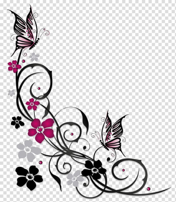Purple and black swirl flowers borderline illustration, Butterfly Flower Ornament, flowers butterfly border transparent background PNG clipart png image transparent background