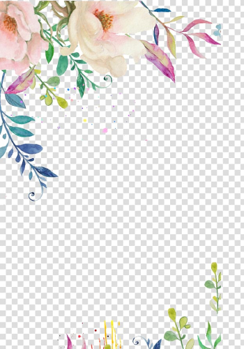 Wedding invitation Flower Pink Watercolor painting, Hand-painted flower border, multicolored flower illustration transparent background PNG clipart png image transparent background